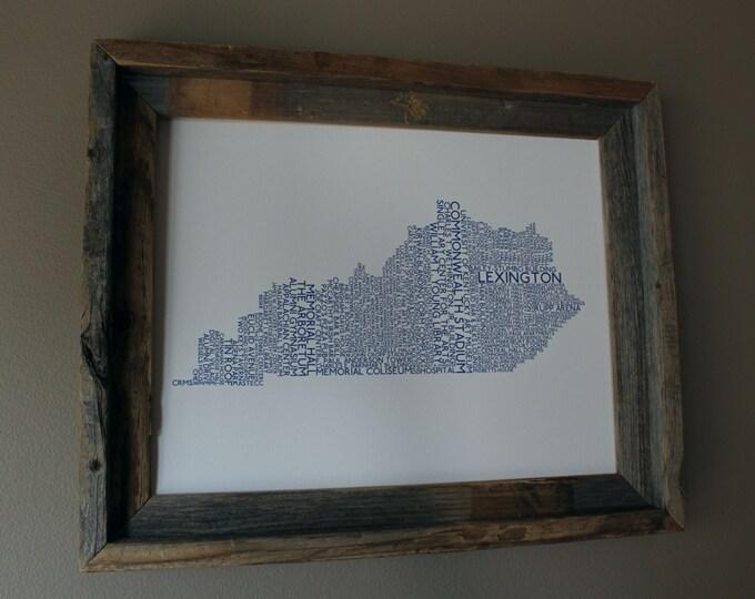 Lexington Kentucky College Town - University of Kentucky - Word Map (White & Blue) - Unframed