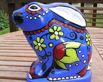 Mexican Sugar Skull Rabbit, Blue, Upcycled.