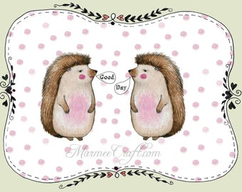 "MarmeeCraft friends art print, ""Good Day Hedgehog"""