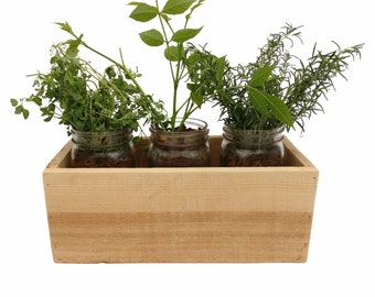 Pallet Wood Herb Planter Box - reclaimed wood herb box herb mason jar planter box with mason jars mason jar planter mason jar herb planter
