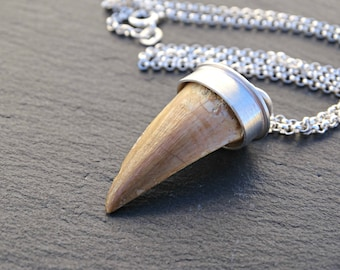 silver pendant fossilized tooth, mens fossil necklace, dinosaur fang pendant, fossil pendant mens, silver necklace for men, dinosaur jewelry