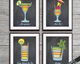 Mixed Drinks Recipe Diagram (Margarita, Mai Tai, Long Island Ice Tea and Mojito) Set of 4 Art Prints (Featured on Vintage Chalkboard)