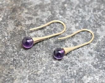 Amethyst Gold Vermeil Earrings, womans, boho, elegant, stylish, handmade, gift for her, rocker, bohemian, purple, bold, free shipping