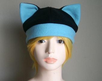Fleece Cat Hat / BLACK + Robin's Egg BLUE Beanie Style Cap Cute Anime Neko Cosplay Cat Ears Kitty Ears Kawaii Japanese Fashion