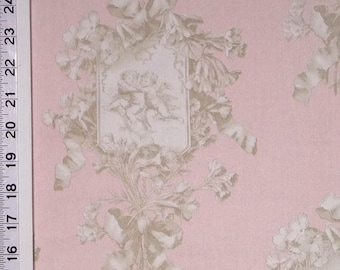 Braemore Angel Toile Blush Pink & Champagne Discontinued OOP Impossible To FIND Drapery/Home Dec. Fabric 1/2 yard