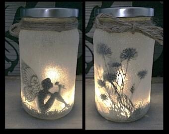 Night light, mood lighting, Fairy sitting in a jar, Fairy Jar, Glitter Jar, Christmas, light up jars, mason jars
