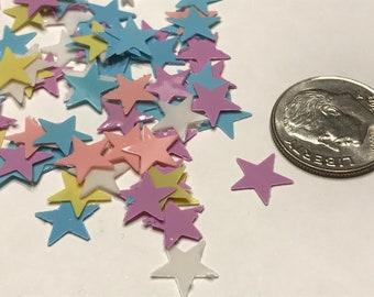 9 mm plastic pastel color star confetti mix, (46)
