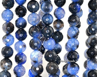 10mm Blue Agate Gemstone Spider Web Blue Faceted Round 10mm Loose Beads 15 inch Full Strand (90148363-289)