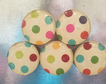 Handcrafted Glass Magnets - Colorful Polka Dots