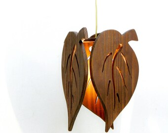 """Wooden Roof Luminaire """"leaves"""""""