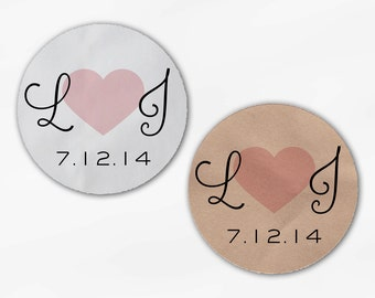 Initials and Heart Wedding Favor Stickers - Blush Custom Candy Buffet White, Kraft Round Labels for Bag Seals, Envelopes, Mason Jars (2021)
