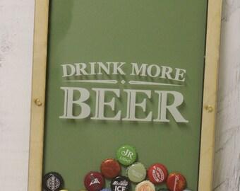 Drink More Beer/Bottle Cap Holder/Bottle Cap Display/Beer Decor/Bar Decor/Father's Day/Man Gift/Bottle Cap Collector/Cap Display