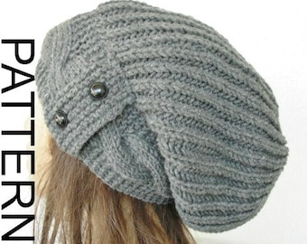 Slouchy Hat Knitting  Pattern Instant Download Knit hat pattern Digital  Hat Knitting PATTERN PDF Cable Knit hat  Pattern Gift for Her