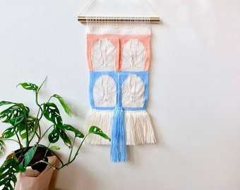 Woven wall hanging/ wall art/ tapestry/ weaving/abstract wall art/ peach/ blue/ cream / white/ boho wall art/ home decor/ modern wall art