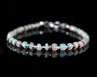 Genuine AAA Opal Bracelet, Natural Ethiopian Fire Opal Jewelry, 925 Sterling Silver Opal Bangle, October Birthstone, Gift for Girlfriend