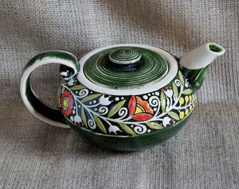 Gift|for|mother Ceramic teapot Grandparents Gift|for|nurse Tea ceremony Gift|for|her Green teapot Aunt and uncle Pottery gift Teapot large