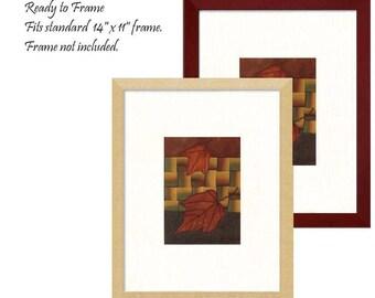 Mini Quilt Art Collage automne rouge érable feuilles Ombre Appliqué tissé ruban de soie Opt cadre