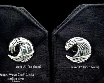 Ocean Wave Cuff Links Sterling Silver