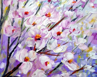 Magnolia Flowers 60x36 Original Painting on Canvas Art by Luiza Vizoli White Purple Pink Floral