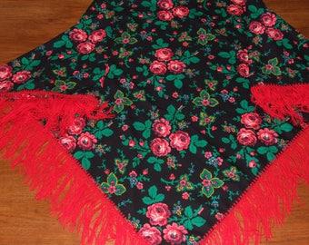 Stunning Vintage Polish Cracowian Folk Floral Scarf/Polish Wool Black Multicolor Big Shawl/Polish Floral Pattern Scarf/Lovely Polish Scarf