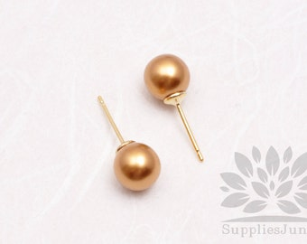 E300-01-GD// HIPS Gold colored 8mm Round 925 Sterling Silver Earring Post, 4 pcs