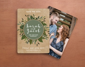 Floral Wedding Save the Date Invitation in Green