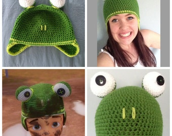 Crochet Frog Hat for babies/children and adults! Handmade and made to order