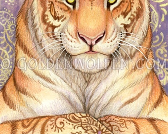 Mehndi Henna Tigress Print