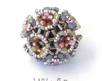 Coxeter Bead Beaded in Pink Silver Glass