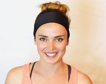Black, Workout Headband, Fitness Headband, Yoga Headband, No slip Headband, Running Headband, Wide Headband, Crossfit