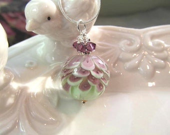 Lampwork necklace purple & green petal bead with purple crystals, bead by Betty Hannsen