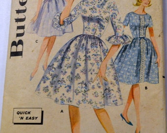 Vintage 1960s Dress Sewing Pattern Butterick 2153 Young Junior & Teen Dress  Bust 31 Inches Complete