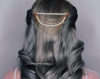 Vintage Inspired Hair Chain Comb With Pearls