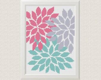 Flowers Cross Stitch pattern modern floral Cross Stitch nature Cross stitch DIY house room decor PDF pattern beautiful gift