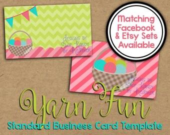 Yarn Business Card - Crochet Business Card - Business Card Template - Knitting Business Card - Yarn Shop Graphics