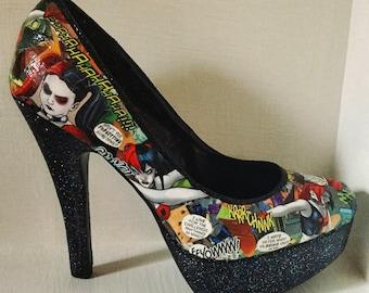 Custom Shoes/Glitter Heels/Hand Painted Shoes/Comic Heels
