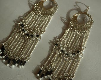 Long earrings seed beads and silver print