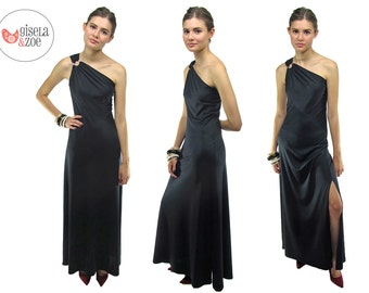 70s One-Shoulder Disco Dress, Jersey Maxi Dress, Cocktail Dress, Black Raven Dress ΔΔ xs / sm