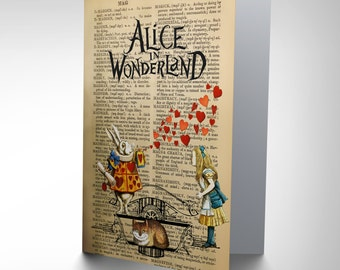 Alice in Wonderland Card - Upcycle  Collage Birthday Gift Dictionary Blank Card CP2881