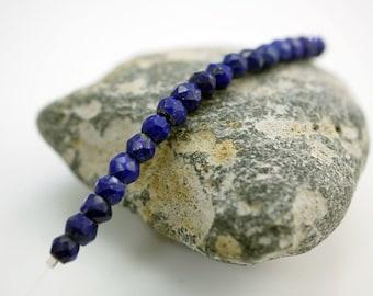 Faceted Lapis Gemstone Beads 4x3mm Lapis Beads Small Gemstone Beads (18) X335