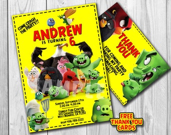 Angry Birds Invitation, Angry Birds Birthday, Angry Birds Invite, Angry Birds Party, Angry Birds Printables, FREE Thank You Card