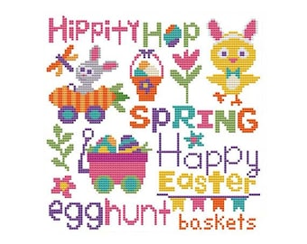 Easter Word Art Counted Cross Stitch PDF Pattern