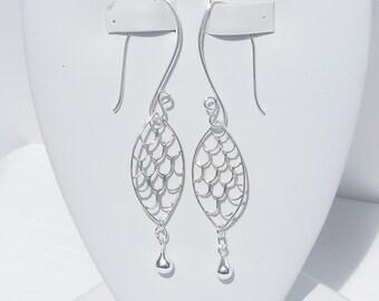 Sterling silver filigree oval earrings