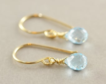 Blue Topaz Drop Earrings, December Birthstone, Minimalsitic, Petite Gemstone Dangle Earrings