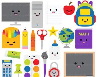 kawaii school clip art digital clipart - Kawaii School Digital Clip Art - BUY 2 GET 2 FREE