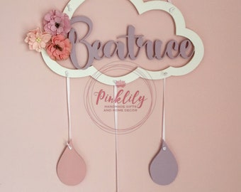 Personalised Cloud Dream Catcher with raindrops