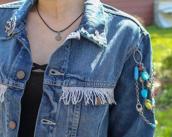 Fringe & Bead Upcycled Levis Jean Jacket