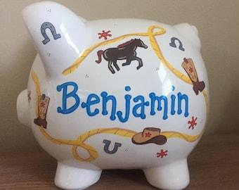 Personalized Cowboy/Cowgirl Theme Piggy Bank