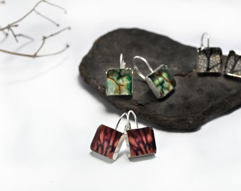 Leverback Earrings- square. sterling silver & photography