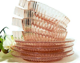 Four Sets Pink Depression Glass Queen Mary Berry Bowls and Underplates